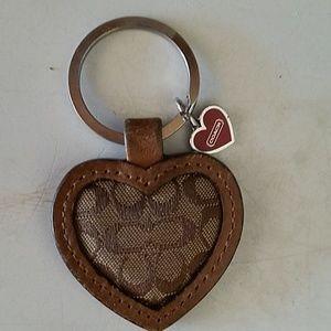 Coach leather heart key fob